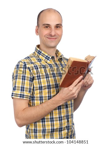 man reading a book isolated on white background - stock photo