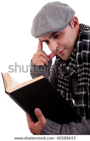 man reading a book, isolated on white, studio shot. - stock photo