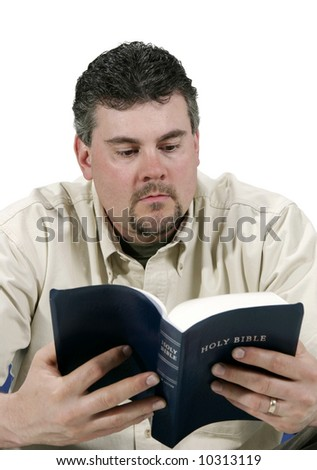 man reading his Bible - stock photo