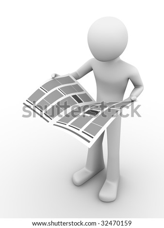 Man reading newspaper 2 - stock photo