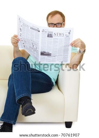 Man reading newspaper. People sitting on sofa isolated on white background - stock photo