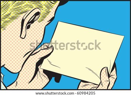 Man reading note - dot - stock photo