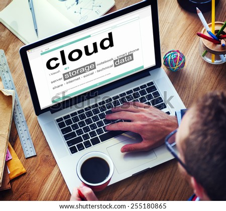 Man Reading the Definition of Cloud - stock photo