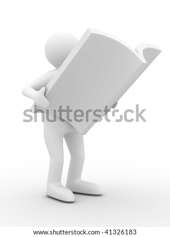 man reads magazine on white background. Isolated 3D image - stock photo