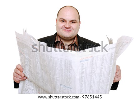man reads newspaper - stock photo