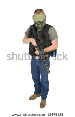 man ready to play paint ball war