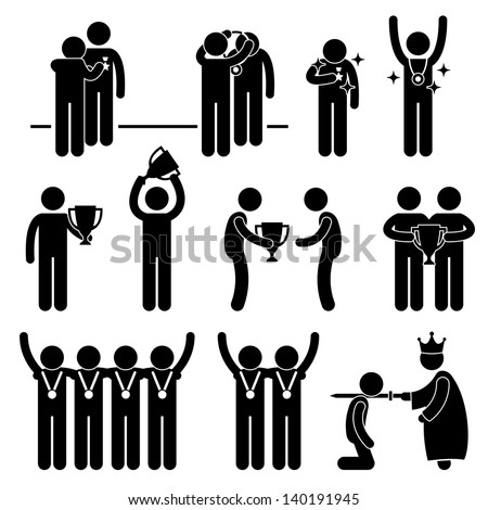 Man Receiving Award Trophy Medal Reward Prize Knighted Honour Honor Ceremony Event Stick Figure Pictogram Icon - stock photo