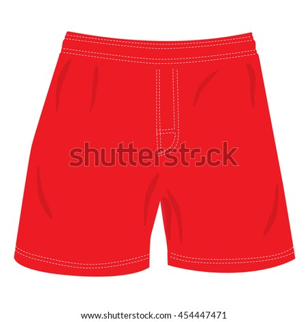 man red summer swimming shorts isolated raster illustration