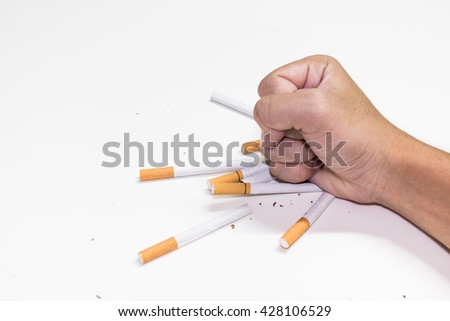 Man refusing cigarettes , Concept for stop smoking cigarette and healthy lifestyle - stock photo
