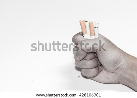 Man refusing cigarettes , Concept for stop smoking cigarette and healthy lifestyle,monochrome - stock photo