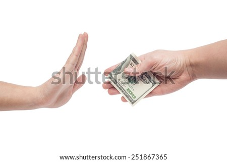 man refusing money offered by man isolated on white backgound