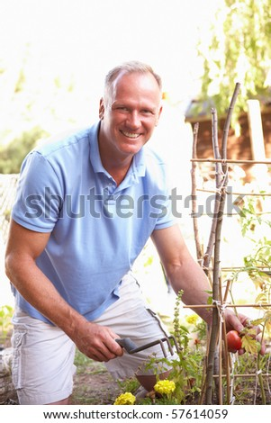 Man Relaxing In Garden - stock photo