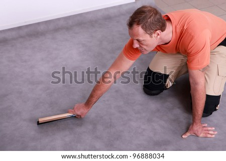 Man renovating the floor