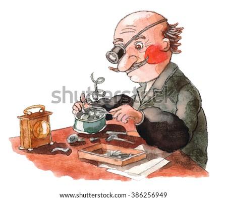 man repairing watches,watchmaker - stock photo