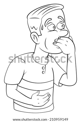 man resist vomiting - stock photo