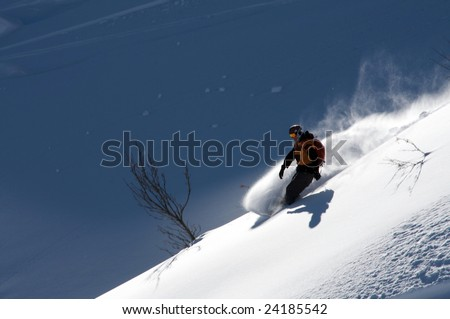 Man ride on snowboard in powder - stock photo