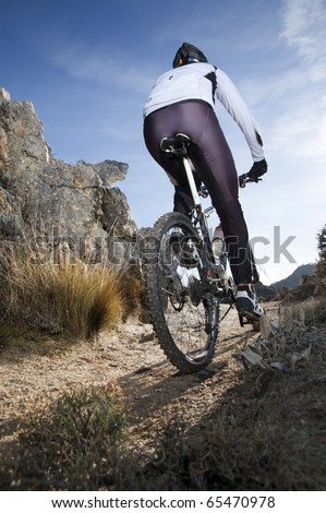 Man riding a mountainbike on a mountain track, view from behind - stock photo