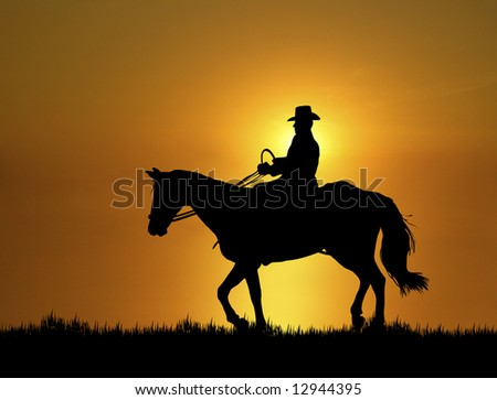 man riding horse at sunset - stock photo