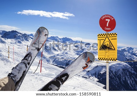 Man riding on skis fall down  - stock photo