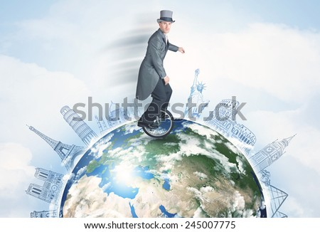 "Man riding unicycle around the globe with major cities concept, ''Elements of this image furnished by NASA""  - stock photo"
