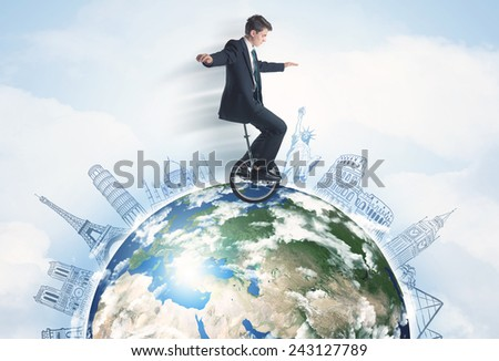"Man riding unicycle around the globe with major cities concept,""Elements of this image furnished by NASA"" - stock photo"