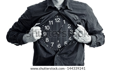 Man ripping shirt and showing clock in place of his chest.