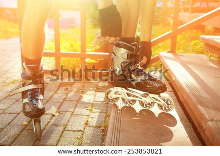man rollerblading outdoors. sport lifestyle. roller skating - stock photo