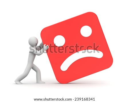 Man rolls sad face - stock photo