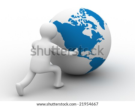 man rolls the globe on a white background. Isolated 3D image. - stock photo
