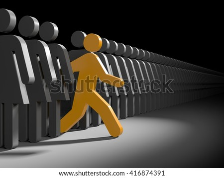 Man run from crowd of women's  to new opportunities - stock photo