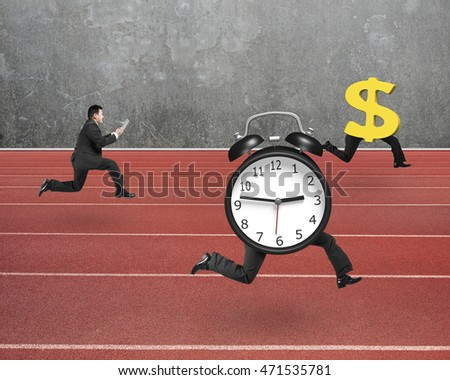 Man running after alarm clock and Euro money symbol, on red track with concrete wall background.