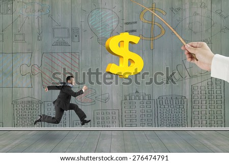 Man running after 3D golden dollar sign bait on fishing rod hand holding, with business concept doodles wood wall background - stock photo