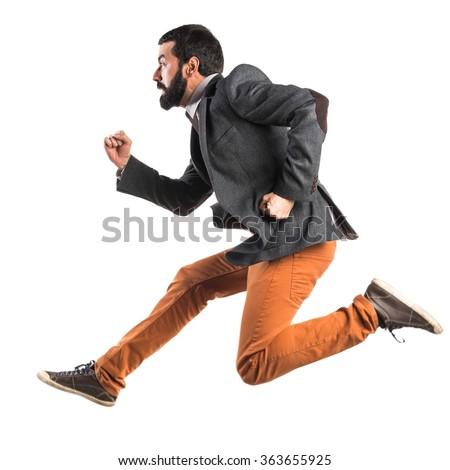 Man running fast - stock photo