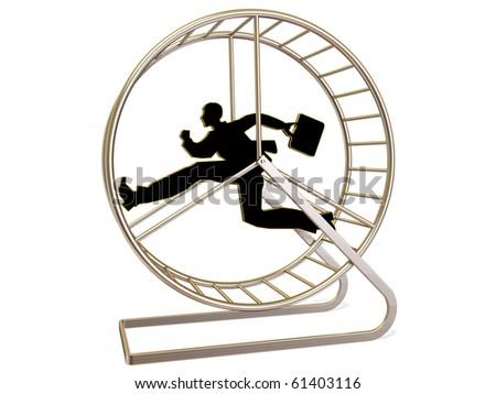 man  running in exercise wheel  on white background - stock photo