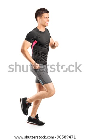 Man running isolated against white background - stock photo