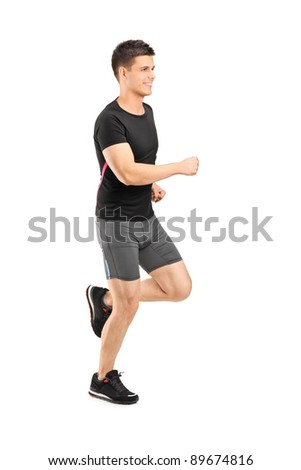Man running isolated on white background - stock photo