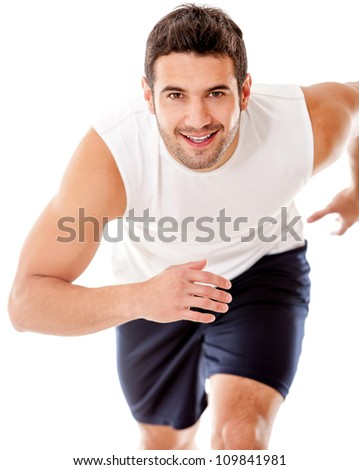 Man running - isolated over a white background - stock photo