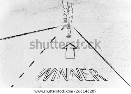 man running on a road with directions towards becoming a winner, concept of success - stock photo