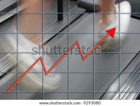 Man running on treadmill overlaid with graph