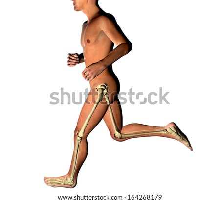 Man running seen on x-rays