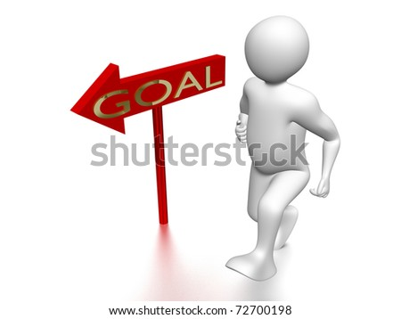 Man running to the goal. Business. Concept of success