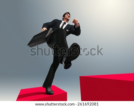 man running up the stairs  - stock photo