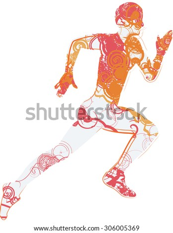 man running with body decorated on white background