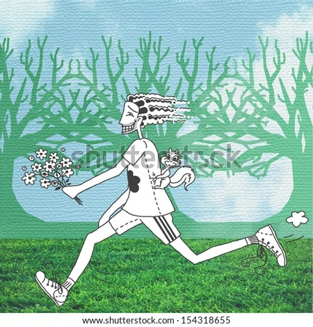 Man running with bouquet of flowers and squirrel on his back. Forest with blue sky background - stock photo