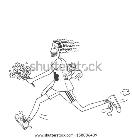 Man running with bouquet of flowers and squirrel on his back. White background - stock photo