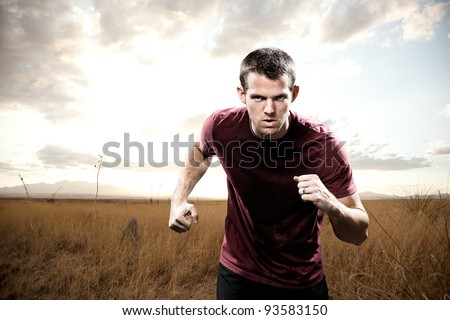 Man Running with Focus - stock photo