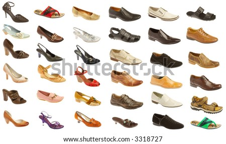 Man's and female footwear on a white background. 35 pieces. - stock photo