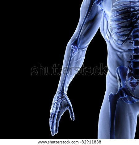 Man's arm under x-rays. isolated on black. - stock photo