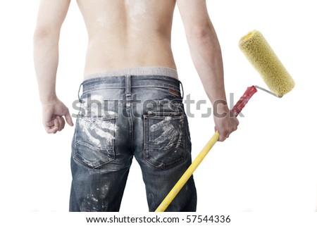 man's back with prints of palms on his buttocks - stock photo