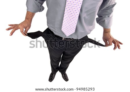 Man's body-part showing empty pockets isolated in white